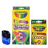 Crayola Erasable Colored Pencils, 24 Count, Pre-Sharpened, Fully Erasable| 24 Count Crayola Crayons | Crayon and Pencil Sharpener (Tamaño: Bundle)