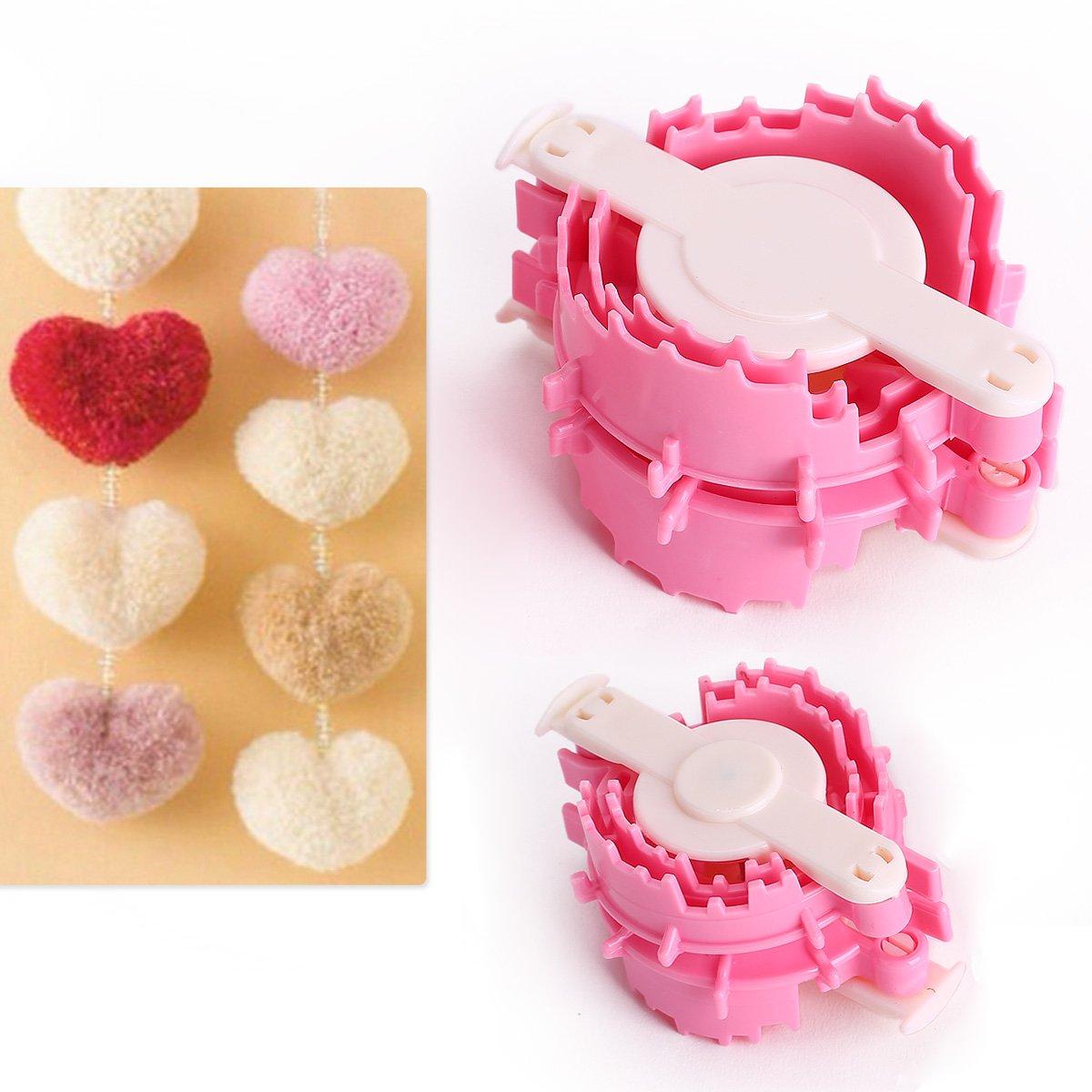 CLE DE TOUS - Juego de telares tejedor artesano con forma de corazón bola Pompón Heart Pom Pom Maker   Revisión del cliente y la descripción más