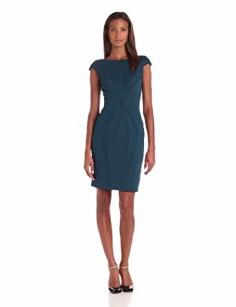 Zac Zac Posen Women's Bondage Jersey Cap Sleeve Short Dress, Deep Turquoise, 0