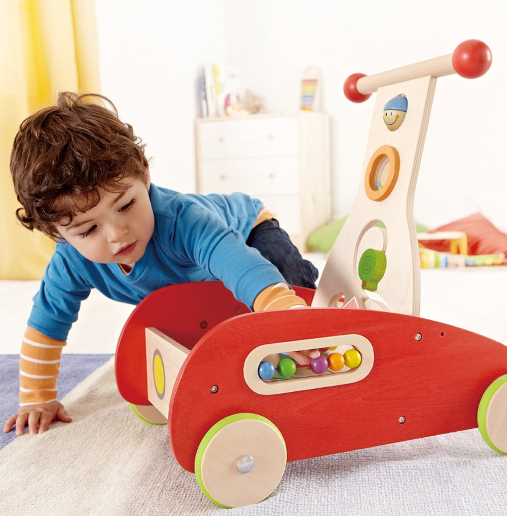 Wide based Hape Wonder Walker.  Beads, knobs, maze & balls help with development of fine motor skills and hand-eye coordination