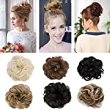 Sexybaby Synthetic Hair Bun extension colorful Elegant chignon Hair Scrunchies Extensions Updo Curly Wavy Donut Hair Pony Tail Hairpiece Black Brown Blonde