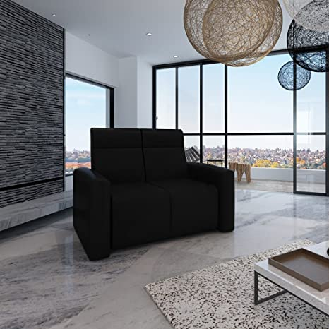 Sofá de cuero lujo Cine en casa Sofá reclinable 2 Asientos negra