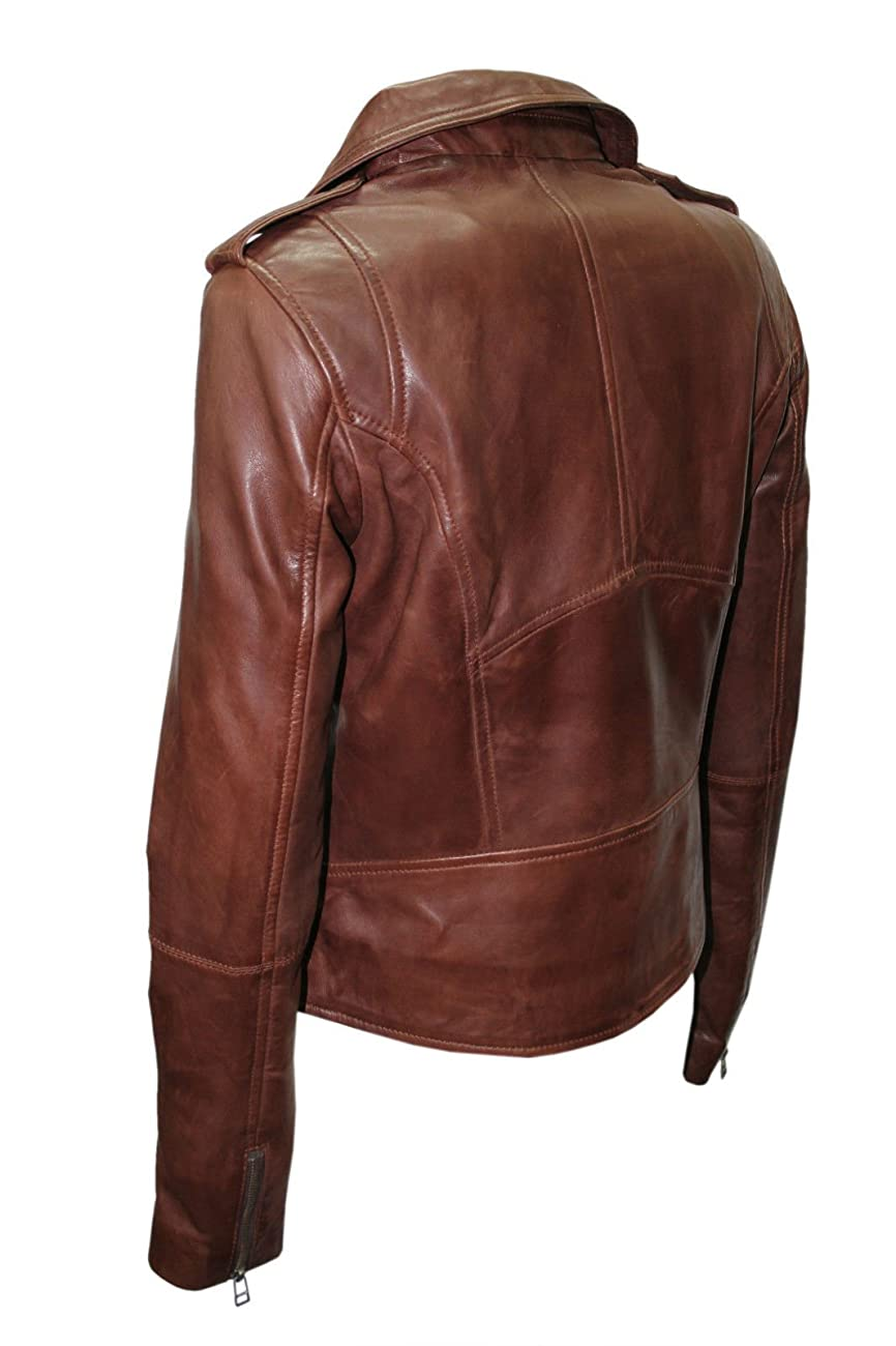 Ladies Retro Brando Chestnut Brown Biker Casual Soft Nappa Leather Jacket 5