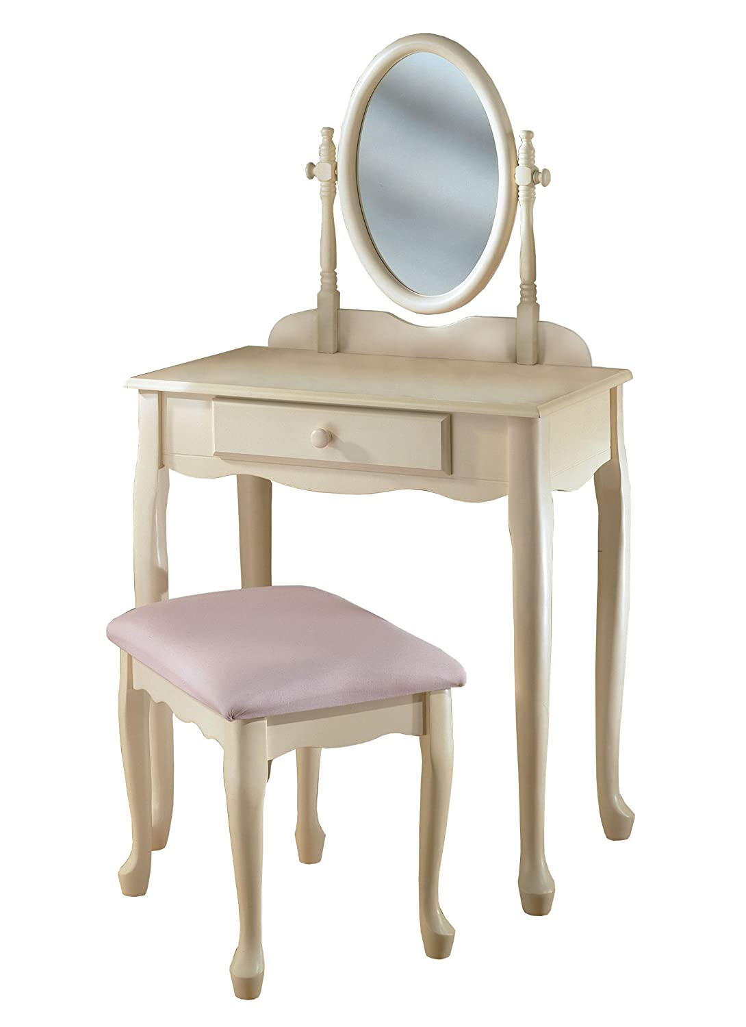 White Make Up Vanity Table Sets With Mirror And Stool