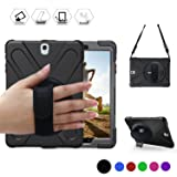 BRAECN Galaxy Tab S2 9.7 Case Full-Body Shockproof Anti-Slip Protective Case with 360 Degrees Rotatable Kickstand/a Hand Strap/a Shoulder Strap for Samsung SM-T810/SM-T815/SM-T813 (Black) (Color: Black)