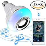 Texsens LED Light Bulb, Bluetooth Speaker Music Lightbulbs, 24 Keys Remote Control, 6W E27 RGB Changing Lamp Wireless Stereo Audio (Color: 2 Pack, Tamaño: Small-2pack-remote)