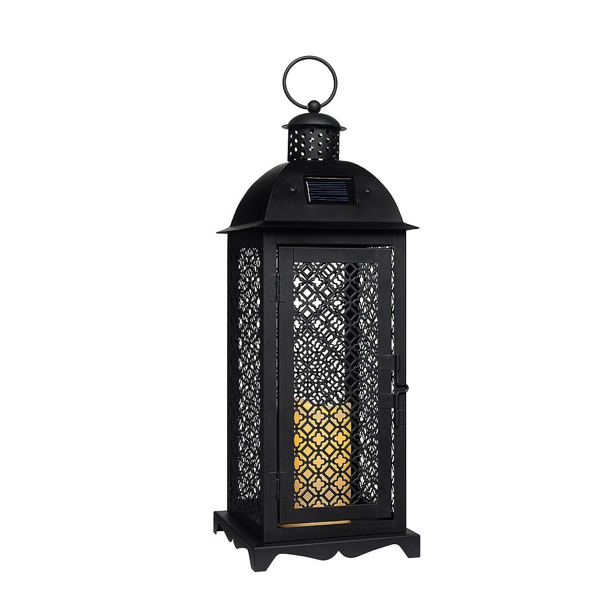 Moroccan Solar Powered LED Garden Flameless Candle Lantern