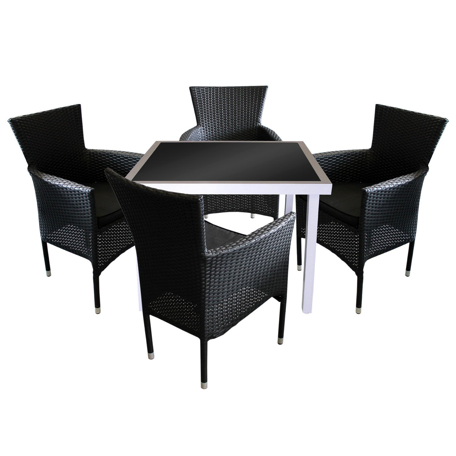 5tlg terrassenm bel gartenm bel balkonm bel bistro set aluminium gartentisch 90x90cm mit. Black Bedroom Furniture Sets. Home Design Ideas