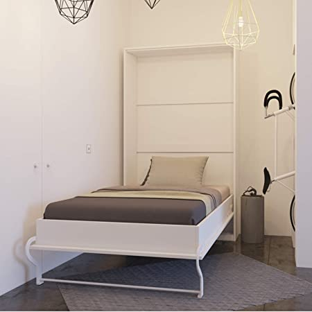 SMARTBett Mueble-cama, 120 cm, plegable, blanco, vertical