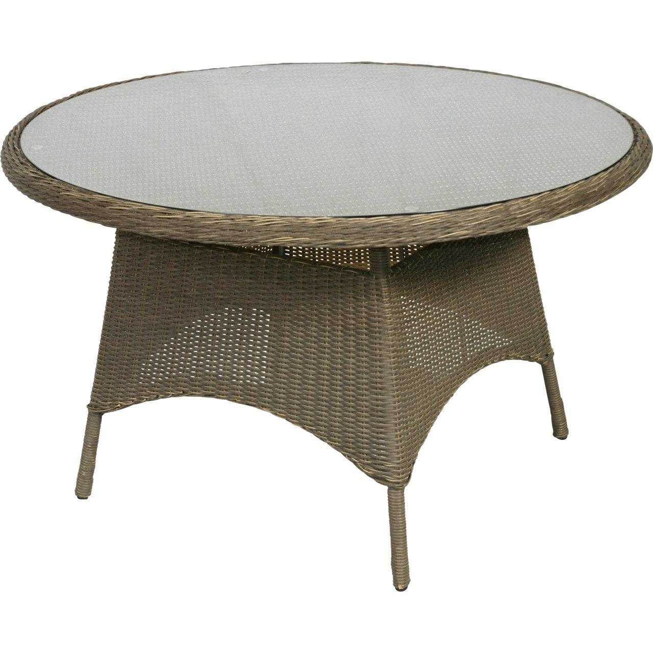 Gartentisch Alu-Gestell mit honigfarbenem Geflecht und Glasplatte ø125x76cm günstig online kaufen