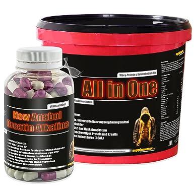 All in One 2,6kg Himbeere+New Anabol Creatin Alkaline 120 Kaps.! Muskelaufbau Aminosäure Anabol Eiweiß Wheyprotein Molkenprotein