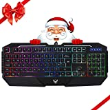 Gaming Keyboard, PICTEK Rainbow LED Backlit Keyboard Computer PC Mac Laptop Wired Gaming Keyboard, 26 Keys Anti Ghosting Ergonomic Wrist Rest Waterproof Keyboard for Gamers Typists (Color: Black)