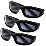 All Weather Protective Shatterproof Polycarbonate Motorcycle Riding Goggle Glasses 3 Pack Set Pouches NOT included (Day Ride Pack) (Color: Day Ride Pack, Tamaño: Medium)