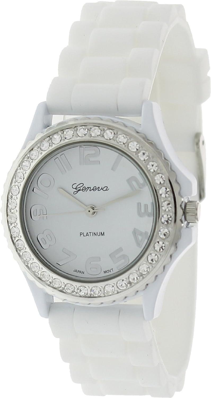 Geneva Platinum CZ Accented fashion Link Watch - Black at Sears.com