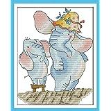 Joy Sunday Cross Stitch Kits 11CT Stamped Small Elephant Grow Taller 9