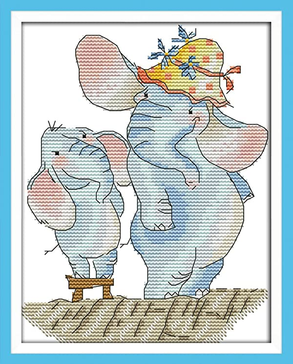 Joy Sunday Cross Stitch Kits 11CT Stamped Small Elephant Grow Taller 9x11 or 23cmx28cm Easy Patterns Embroidery for Girls Crafts DMC Cross-Stitch Supplies Needlework Animal Series (Color: Spamted Small Elephant Grow Taller)