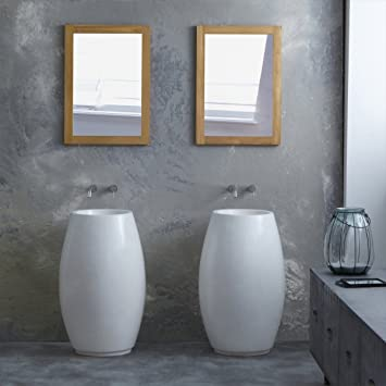 White Terrazzo Washbasin Sink Vase Pedestal Bowl Design 80 cm Bathroom Furniture