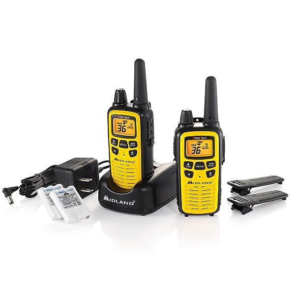 MIDLAND LXT630VP3 GMRS DE 36 CANALES CON RANGO DE 30 MILLAS NOAA Weather Alert, cargador de baterías recargables en estuche amarillo de alta visibilidad