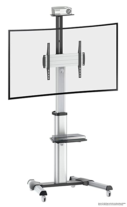 Ricoo LCD TV Stand Glass base mount with tilt FS0444 Rotation Swivel with Wheels Adjustable Height Led Tv Stand Furniture Rack VESA 400x400 Universal DVD Receiver Glass Shelf