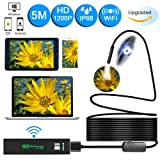 Wireless Endoscope,Unee1 Updated 1200P WiFi Borescope Inspection Camera With 2.0 Megapixels 1200P HD Snake Camera For Iphone and Android Smartphone,Ta