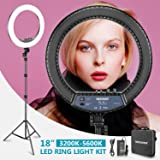 Neewer RL-18II Bi-color 18-inch LED Ring Light with Stand 55W 3200-5600K Dimmable Light with Max. 61.8inch Stand and Carry Bag for Live Stream Makeup Selfie YouTube Video Shooting(Adapter Not Include)