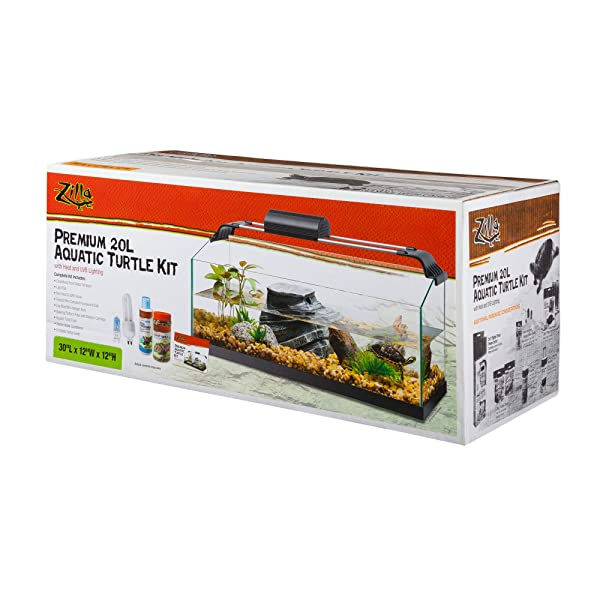 Zilla Premium Rimless Aquatic Turtle Habitat Kit, 20 Gallon Long (Tamaño: Large)