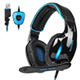 SADES SA902 New Update Gaming Headset 7.1 Channel Virtual USB Surround Stereo Wired PC Gaming Headset Over Ear Gaming Headphones with Mic Revolution Volume Control Noise Canceling LED Light(BlackBlue) (Color: SA902 BlackBlue, Tamaño: SA902Blue FBA)
