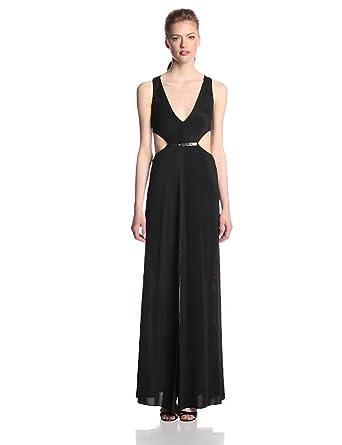 BCBGMAXAZRIA Women's Valentina Side Cut Out V-Neck Evening Gown, Black, 0