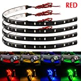 EverBright 4-Pack Red 30CM 5050 12-SMD DC 12V Flexible LED Strip Light Waterproof Car Motorcycles Decoration Light Interior Exterior Bulbs Vehicle DRL Day Running with built-in 3M Tape (Color: 30cm-5050-12smd-red-04pcs, Tamaño: 4-Pack Red)
