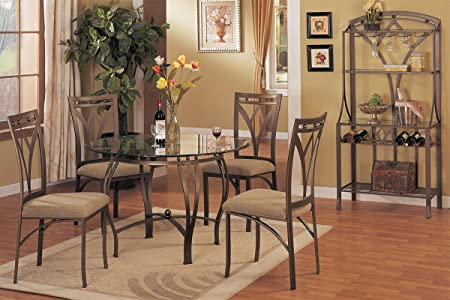 Poundex F2028 & F1002 Clear Glass Top Table With Beige Fabric Chairs Dining Set