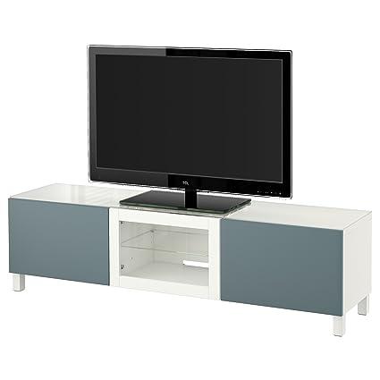 IKEA BESTA - Banc TV avec portes Blanc / valviken gris turquoise verre clair