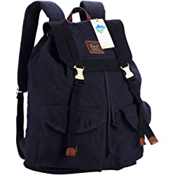 Senpaic Casual Vintage Canvas Backpack - Black