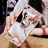 Huawei P10 Lite Glitter Case,Huawei P10 Lite Case,Leeook Creative Mirror Effect Diamond Soft Silicone Case Cover with Bear Ring Kickstand for Huawei P10 Lite-Silver (Color: Bear Ring,Silver, Tamaño: Huawei P10 Lite)