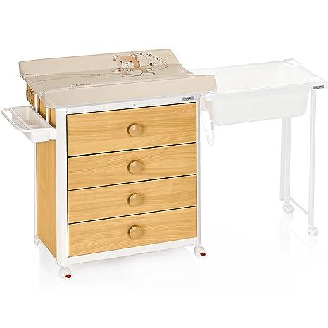Brevi Idea legno colore: bianco, legno tavolo fasciatoio–Tavolini cambiadoras in legno, colore: bianco, legno, 860x 460mm, 4Drawer (S), 6Wheel (S), 1650mm