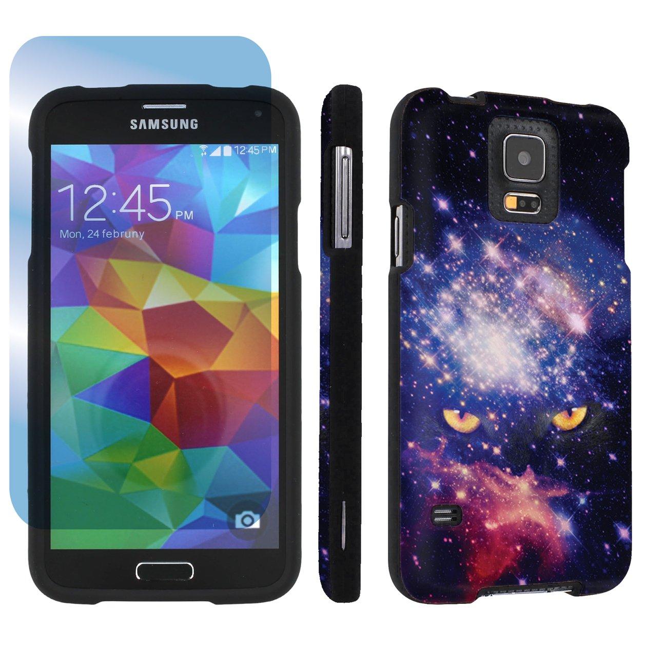 SkinGuardz Samsung Galaxy S5 Hard Protection Case + Screen Protector - (Space Cat Black)