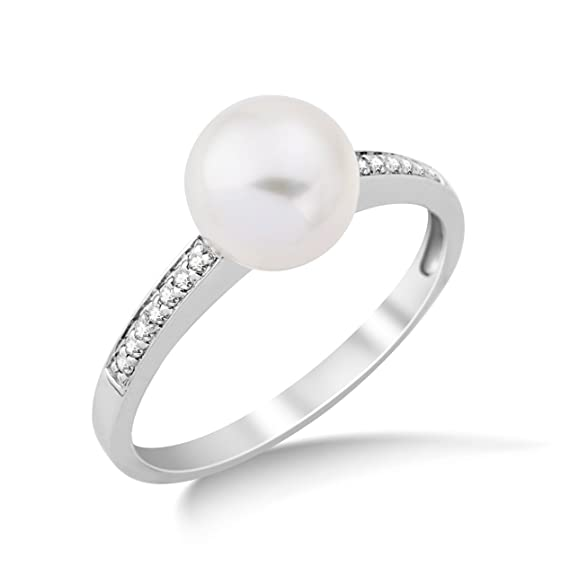 Miore 9ct White Gold Diamond Shoulder Set Freshwater Pearl Ring MG9104R