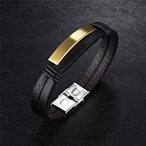 Sunling Free Engraving Personalized Leather Bracelet for Men Inspirational ID Bracelet Gift for Him,7.87,with Box