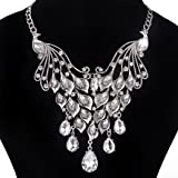 Vibola Women Fashion peacock Crystal Necklace Jewelry Statement Pendant Charm Chain (Silver)