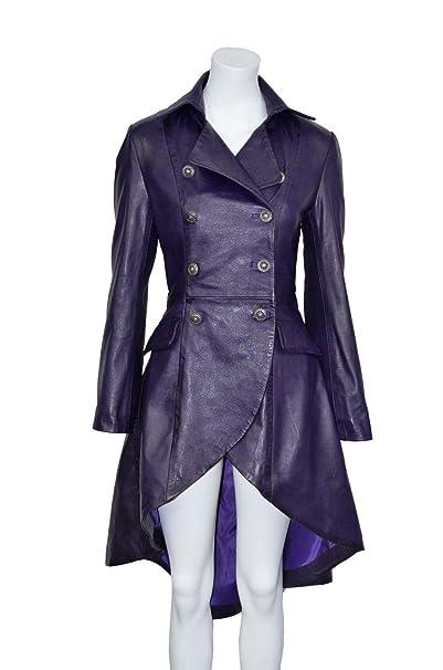 Gotik Damen Edwardian Frauen lila gewaschen Wirkung Echtes Leder zuruck geschnurt Jacken / Mäntel Alle Größen