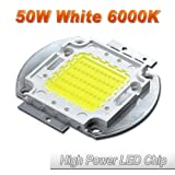 Hontiey High Power LED Chip 50W Pure White Light 6000K-6500K Bulbs 50 Watt Beads DIY Spotlights Floodlight COB Integration Lamp SMD (Color: gold, Tamaño: 1Pcs 50 Watts)
