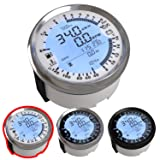 Atach 85MM Digital GPS Speedometer, Tachometer and MULTIMETER, 6 in 1 Functions (White and Silver Bezel) (Color: WHITE AND SILVER BEZEL)