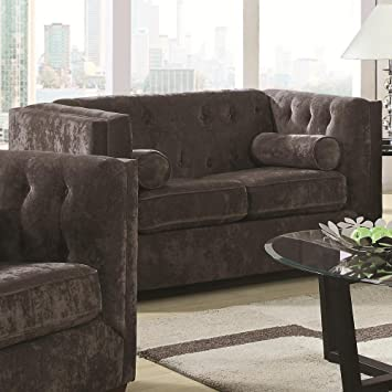 Alexa Velvet Loveseat Color: Charcoal