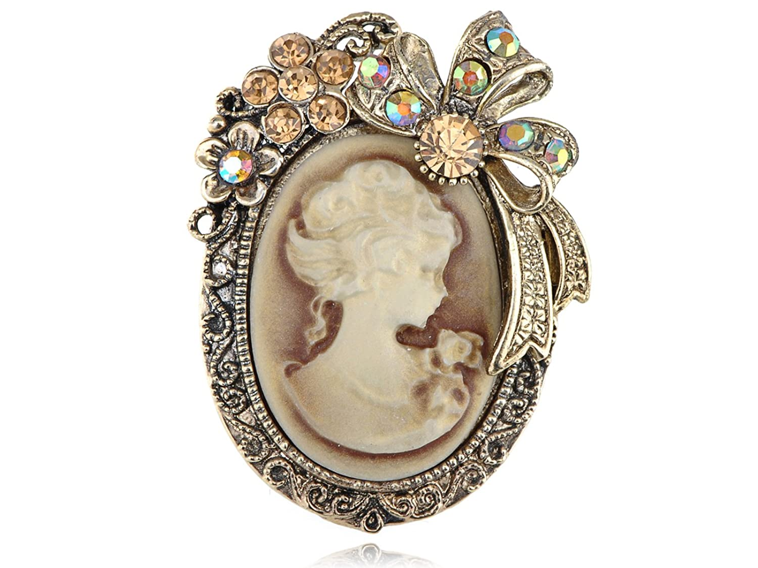 Old Gold Tone Topaz Crystal Rhinestone Cameo Maiden Flower Ribbon Bow Pin Brooch