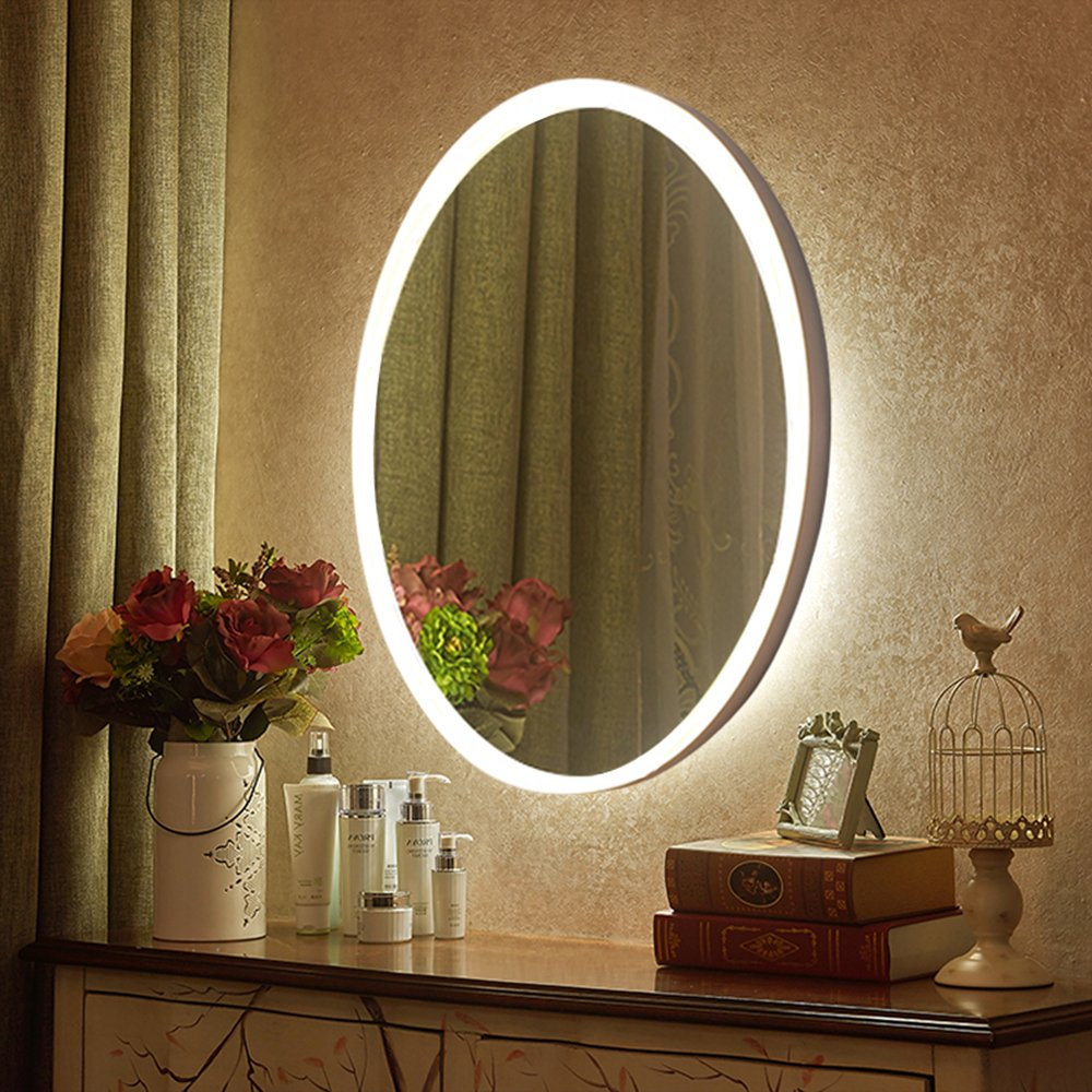 Led wall mirrors inch oval mirror nanami - Bedroom vanity mirror with lights ...