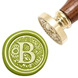 Letter B Wax Seal Stamp, Yoption Brass Head Botanical Alphabet Initial Sealing Stamp with Wooden Handle (Color: B)