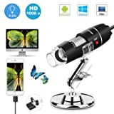 USB Microscope 1000x Microscope Camera 2 in 1 USB with 8 LED Lighting Adjustable Stand Magnification Endoscope Microscope for Android, Windows, Mac, Linux by Sunnywoo (Color: Black)