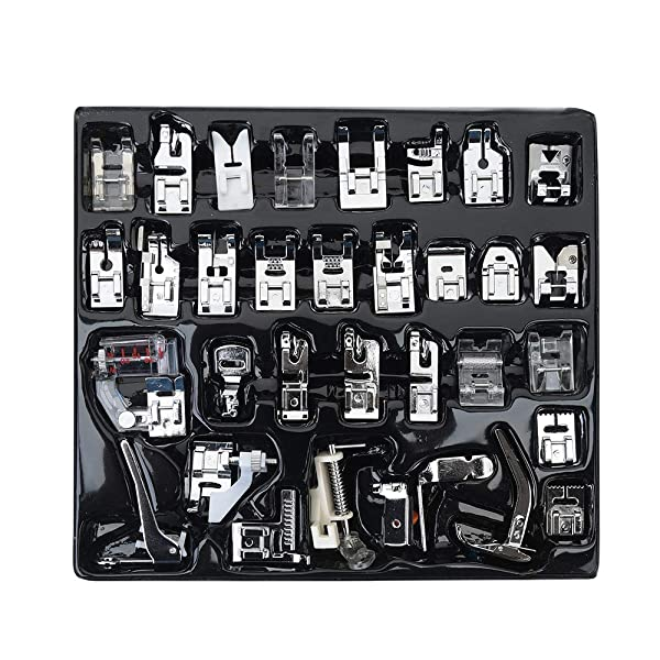 FF Elaine Professional Domestic Sewing Foot Presser Foot Presser Feet Set for Brother, Babylock, Singer, Janome, Elna, Toyota, New Home, Simplicity, Kenmore (32 PCS) (Color: 32 PCS)