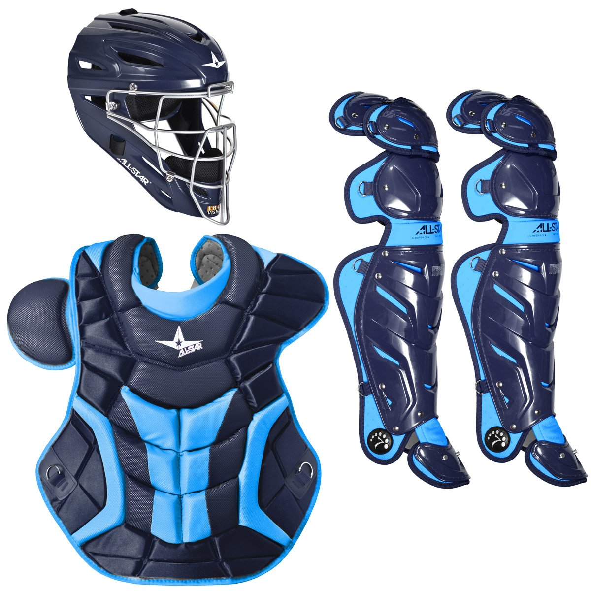 Baseball catchers gear baseball catchers gear set - All Star S System 7 Pro Gear Set Is A 3 Piece Package That Comes With A Hockey Style Helmet A Chest Protector With Wraparound Adjustable Sides And Two