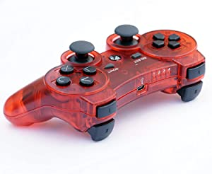 PomeMall Transparent Wireless Remote PS3 Controller Gamepad for use with Playstation 3 (Red) (Color: Red)