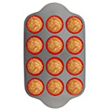 Silicone Muffin Pan With Steel Frame, 12 Cups Full Size | Professional Non-Stick Baking Molds by Boxiki Kitchen | FDA Approved BPA-Free Bakeware | Silicone 12 Cup Muffin Mold (Color: Grey, Red, Metallic, dark grey)